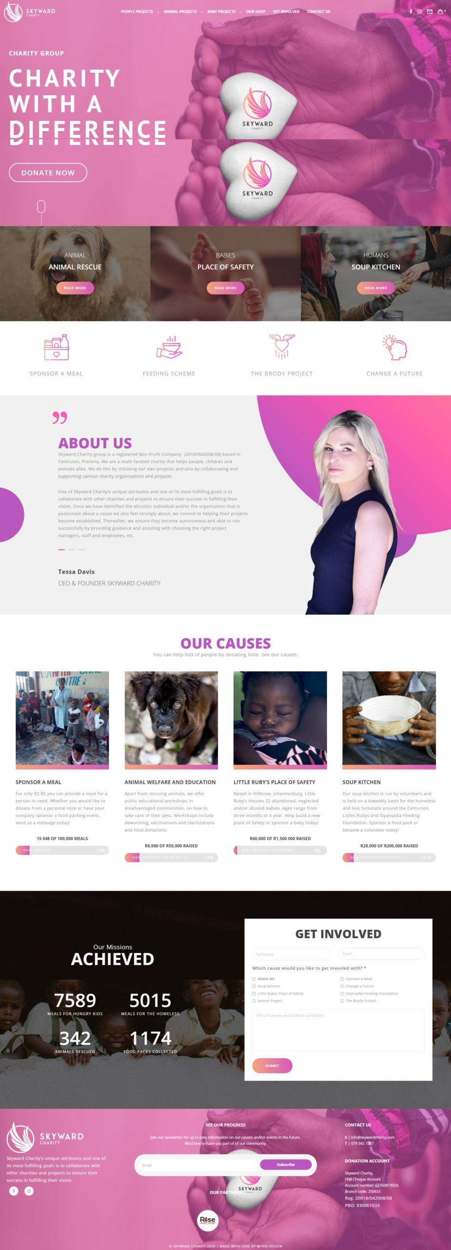 Skyward Charity Website Mockup