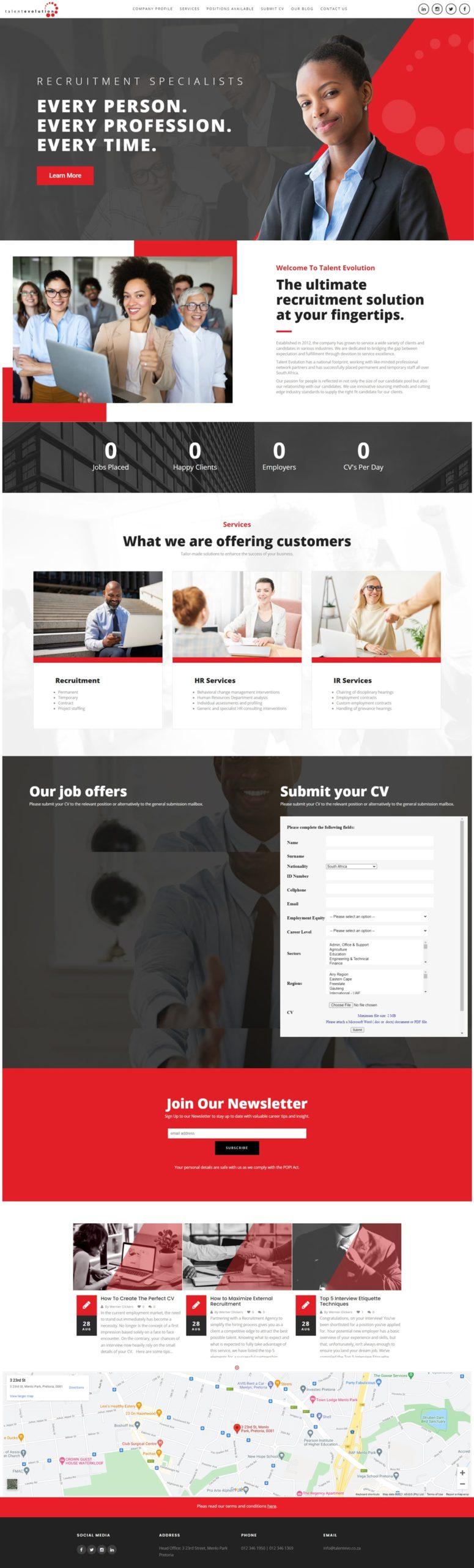 Talent Evolution Website Mockup